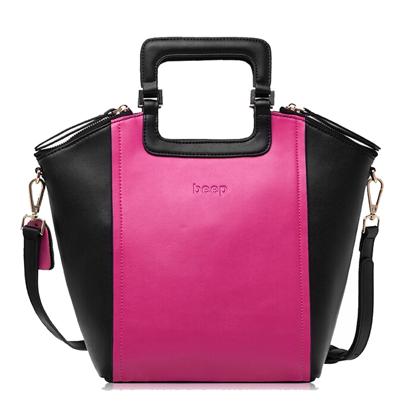 BEEP Famous Brand Women Bag Genuine Leather Cowhide High Capacity Handbag Women Fashion Splice Zipper Shoulder Messenger Bags<br><br>Aliexpress