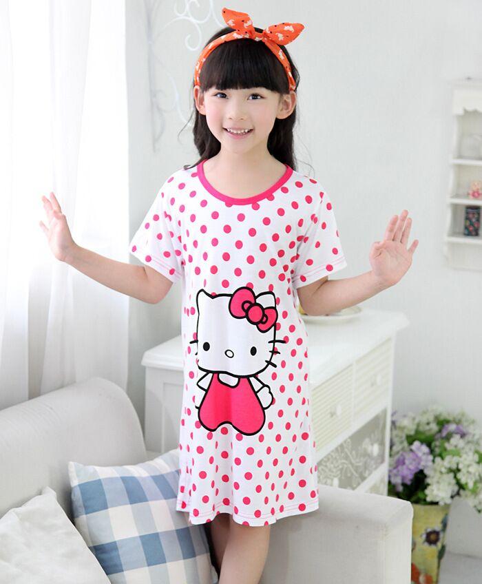 Hello Kitty Children's Night Gowns Kids Cotton Nightgowns Short Sleeve Girls Pyjama Nightie Dress Kid Cartoon Sleep wear clothes(China (Mainland))