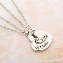 2pcs Heart Letter Mother Daughter Vintage Necklace Pendant For Women Girl Mother Day Party Dress Family Gift Charm Hot(China (Mainland))