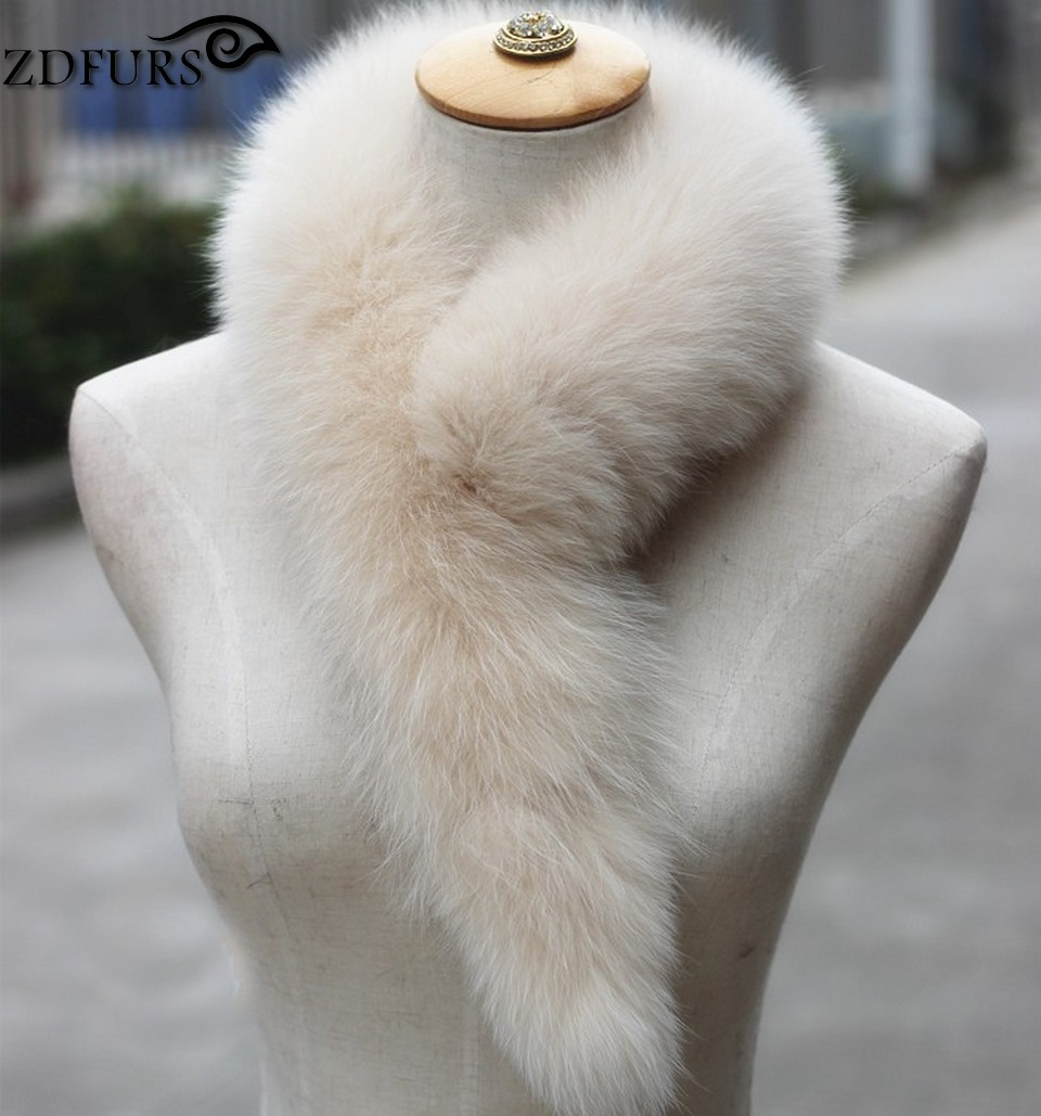 ZDFURS 2016 Genuine Fox Fur Scarf 100% Real Fox Fur Collar Fur Ring Muffler Women Fur Stole Neck Warmer 14 Colors(China (Mainland))