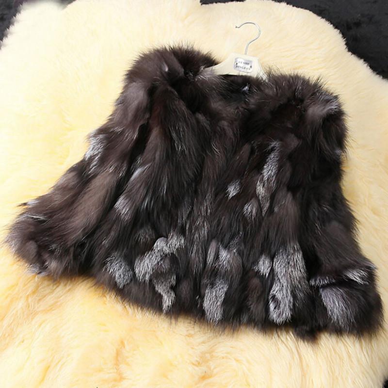 Горячий Популярный Новый 2014 Подлинных Природных Серебряная Лисий Мех Пальто Женщин Короткий Дизайн Мех Пиджаки Пальто Куртки Зима Куртка Большой Плюс Размер