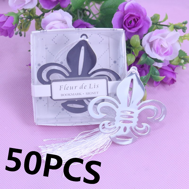 50PCS Home Party Personalised Bulk Fleur De Lis Bookmarks For Boy Girl Baby Shower Favor And Gifts For Guests Wedding Favours(China (Mainland))