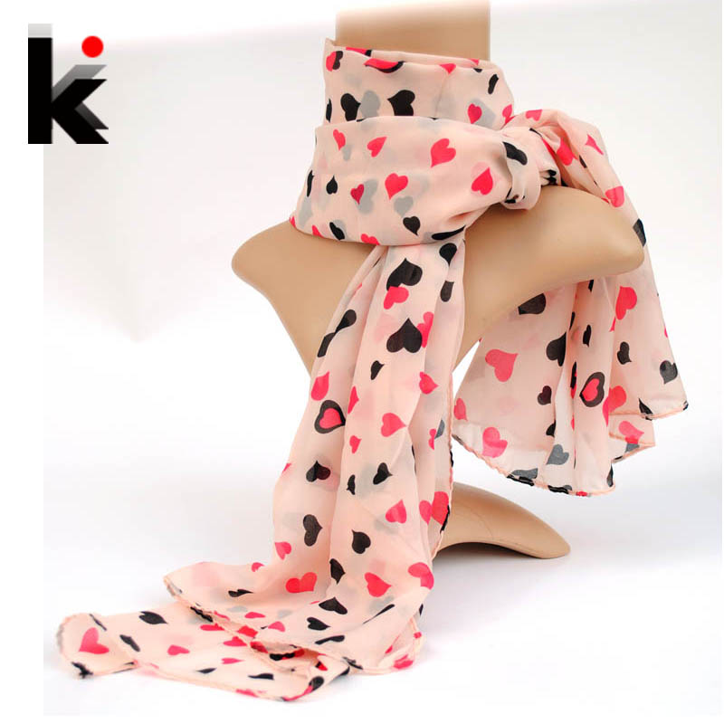 Free shopping wholesale scarf 2014 Spring and Autumn scarfs fashion style women's large silk cute small fresh peach heart scarf(China (Mainland))