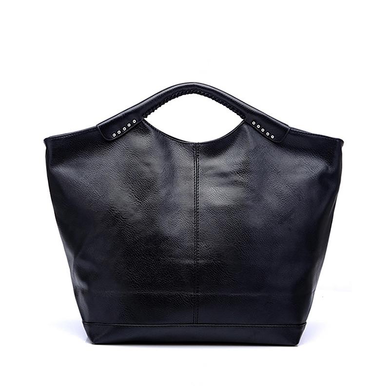 Women Handbag Solid Black Tote Bag Casual Hobos Shoulder Bag Famous Brand Fashion High Quality PU Leather Portable Bags 45ZR(China (Mainland))