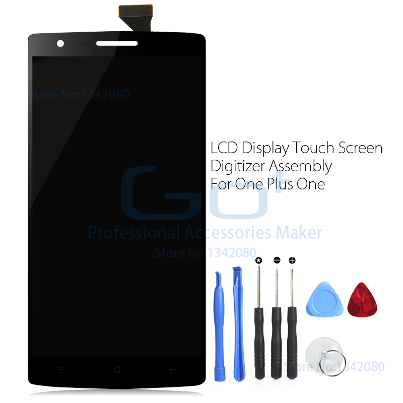 LCD Digitizer Assembly Parts for Oneplus One LCD Display Touch Screen Flex Cable for One Plus One 1+ One+ 8 in 1 Opening Tools(China (Mainland))