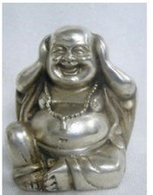 Collectable tibet silver buddha figure ornament statue 100% free shipping