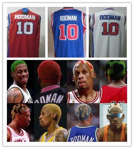Free Shipping New Wholesale Men #10 Dennis Rodman Basketball Jersey Cheap Basketball Shorts Hot sell Rodman Mesh Jersey(China (Mainland))