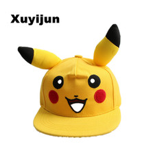 Japanese Famous Animation Cartoon Comic Cute Lovely Pokemon GO Pikachu Flat Snapback Caps Hat for Men Women child cap(China (Mainland))