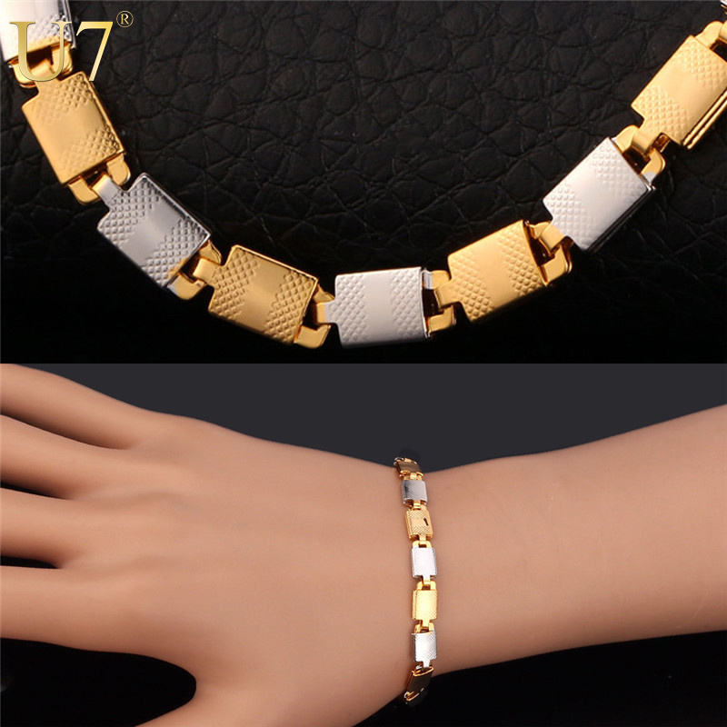 Two Tone Gold Bracelet Stamp '18K' Real Gold Plated Unisex Jewelry 2015 New Trendy 6 MM 21 CM Chain Bracelet For Men/Women H593(China (Mainland))