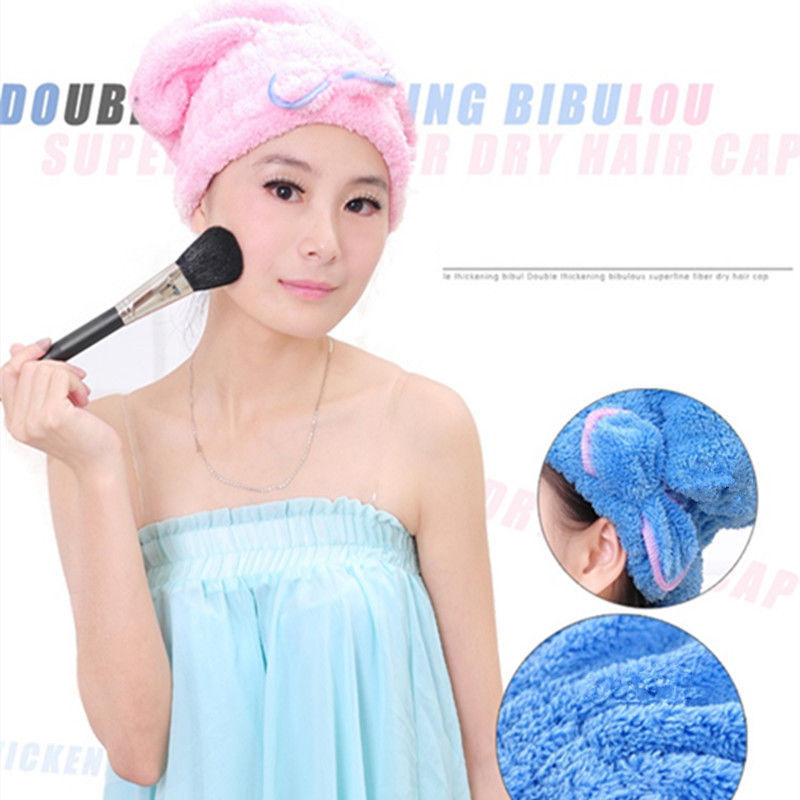 Womens Girls Lady s Magic Quick Dry Bath Hair Drying Towel Head Wrap Hat Makeup cosmetics