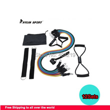 Free Shipping-2014 New Set of 12 PROSOURCE RESISTANCE EXERCISE BANDS for RK12 Latex Resistance Bands Tubes
