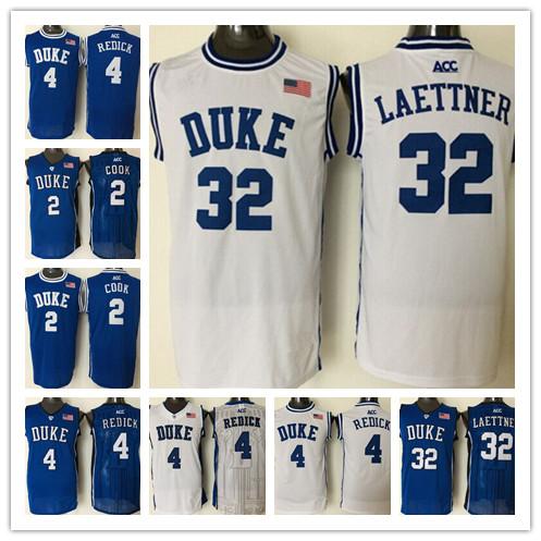 2016 Newest Duke Blue Devils Jersey #4 JJ Redick #2 Quinn Cook #32 Christian Laettner Blue White Embroidery Basketball Jerseys(China (Mainland))