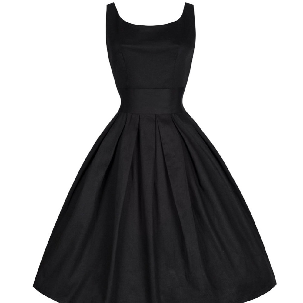 Summer Women Dresses Fashion O-neck Sleeveless Black Retro Casual Party Robe Rockabilly Vintage Vestidos S-2XL Plus Size WF-9564(China (Mainland))
