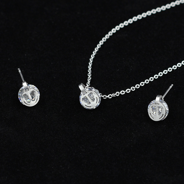 Fashion real bling crystal anchor necklace and stud earrings, stainless steel jewelry sets for classic party dress(China (Mainland))