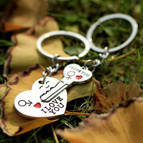 2015 Hot Sale Zinc Alloy Silver Plated Lovers Gift Couple Heart Keychain Fashion Keyring Key Fob Creative Key Chain KC-31202(China (Mainland))