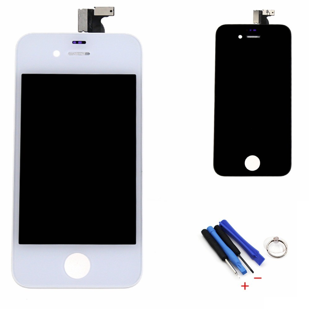 For iPhone 4S LCD Screen Digitizer Touch Display Glass Assembly Complete Replacement with tools Free shipping Black or white(China (Mainland))