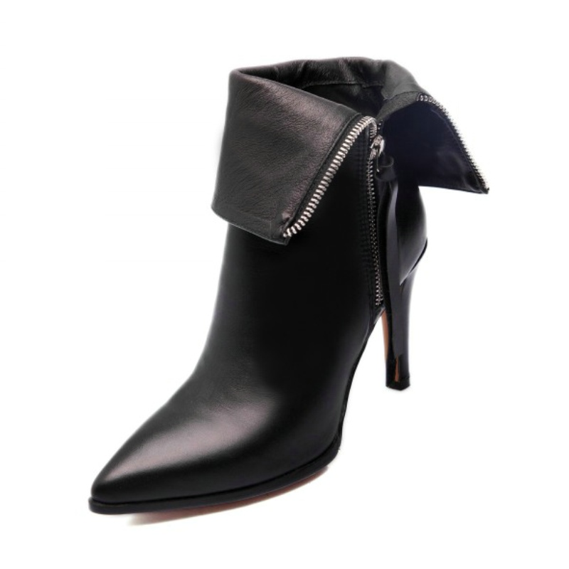 Plus size 33-40  new arrival  winter autumn Two kinds of wear women western ankle boots genuine leather thin high heels shoes<br><br>Aliexpress