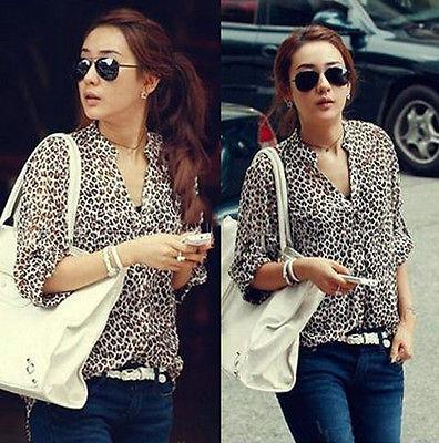 Women's Sleeve Casual Leopard Print Shirt Tops Botton Down Blouses free ship(China (Mainland))