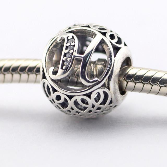 Серебро 925 2016 весна ювелирные изделия буква н бусины подходит браслет европейский алфавит натуральный камень бусины для ювелирных изделий