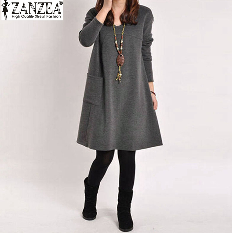 Vestidos 2016 Spring ZANZEA Women Vintage Long Sleeve Pocket Dress Ladies Casual Loose Solid V Neck
