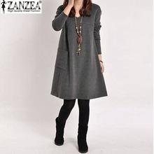 Vestidos 2015 Autumn Winter Women Vintage Long Sleeve Pocket Dress Ladies Casual Loose Solid V Neck Dresses Plus Size