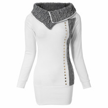 Gamiss 2015 Women Sweaters and Pullovers Turn-Down Collar  Knitted Sweater Rivet Embellished Long Sleeve Women Long Sweaters(China (Mainland))
