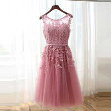 Hot Cocktail Dresses Real Photo Robe cocktail 2017 A Line Scoop Custom Made Cocktail Formal Gowns Beaded Lace Party Gowns(China (Mainland))