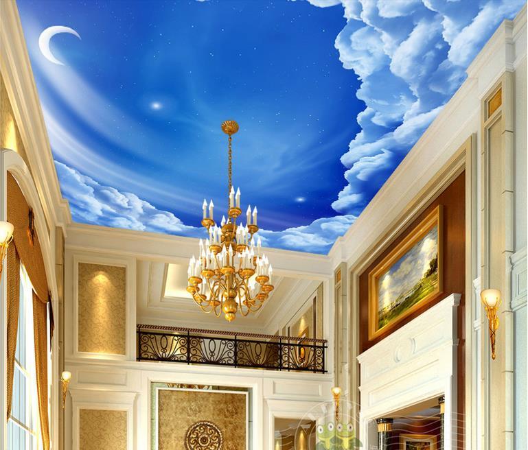 Popular cloud wallpaper buy cheap cloud wallpaper lots for Blue moon mural