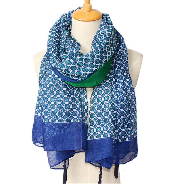 Лоскутное круглый цветок печать длинный шарф для женщин, Женский кисточкой прекрасный новый бренд дизайнер синий шарф бесплатная доставка