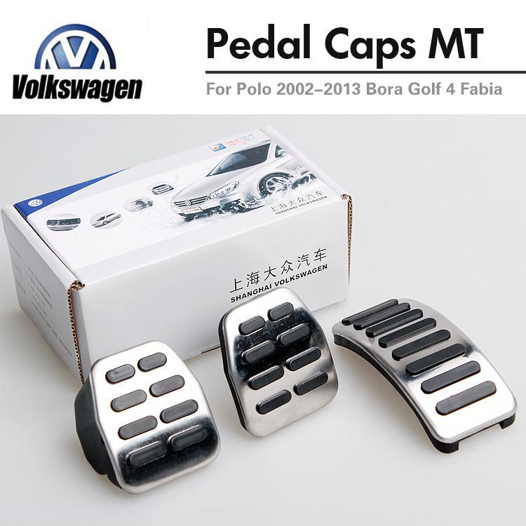 Manul Original OEM Stainless Steel Car Pedals Cap Cover For Volkswagen VW Polo Golf 4 Jetta MK4 Bora Skoda Fabia Clutch Brake(China (Mainland))