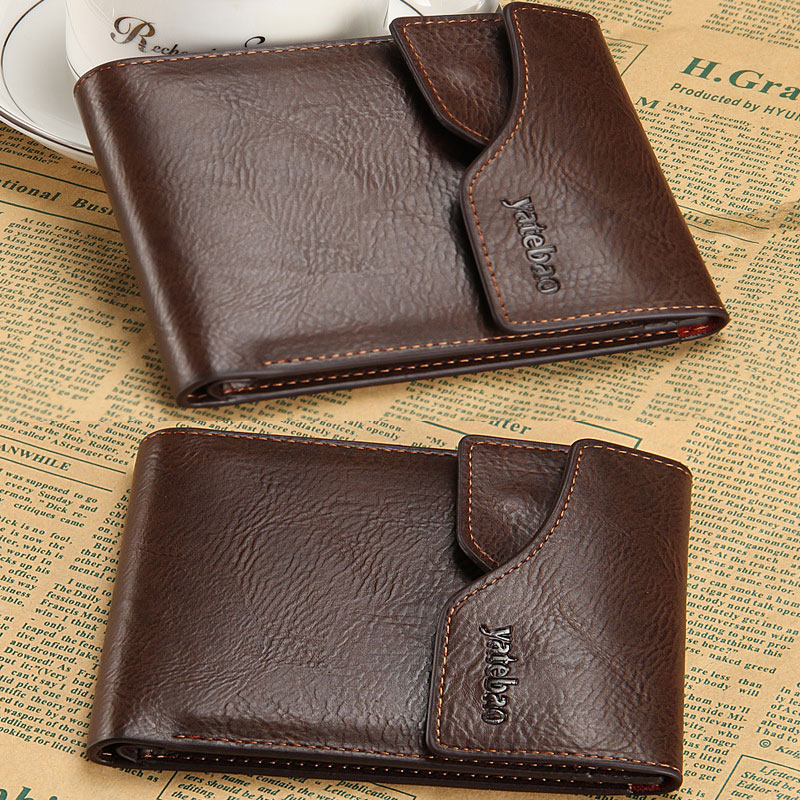 Men Vintage Retro Coffee PU Leather Short Square Casual Clutch Solid Coin Stylish Card Holder Purse Wallet<br><br>Aliexpress