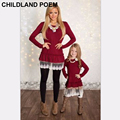 2016 family matching clothes christmas mother daughter dresses lace matching mother daughter clothes mom and daughter