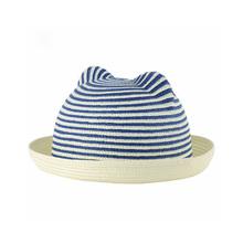 Cute Boys Girls Kids Straw Hat Stripes Cat Ears Rolled Brim Domed Cap Children Sun Hat Headwear(China (Mainland))