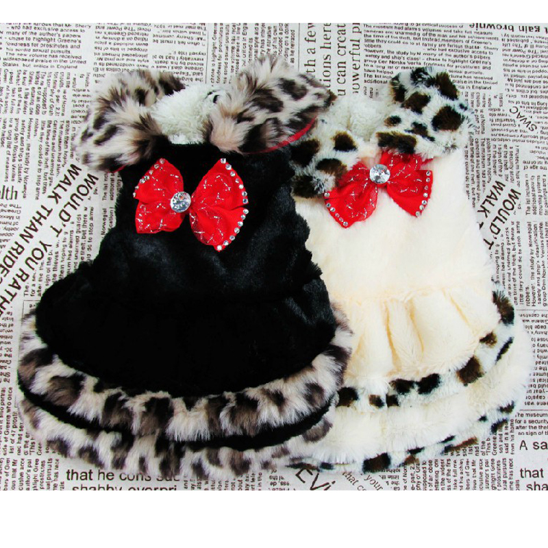Winter Pet Products The Fur Coat Design Dog Clothes Warm Leopard Dresses For Dogs Clothing With Bowknot 2 Color Cheap Price C-1(China (Mainland))