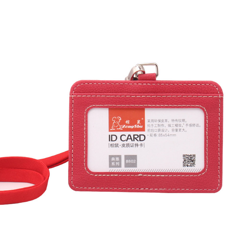 2017 new Name Credit Card Holders Women Men PU Bank Card Neck Strap Card Bus ID holders candy color Identity badge with lanyards(China (Mainland))