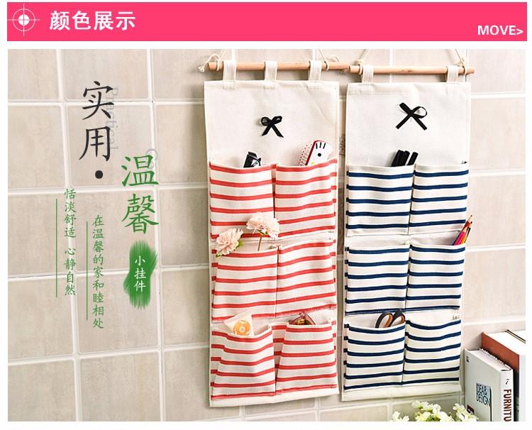 Sundry Cotton Wall Hanging Organizer Bag Multi-layer Holder Storage Bag Home Decoration Makeup Rack Linen Jewelry 5 Aad 8 Pocket