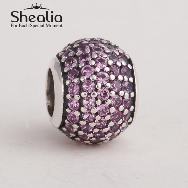 SHEALIA проложить rhinestone мяч шарики шарма аутентичные стерлингового серебра 925 ювелирных изделий подходит pandora style diy браслеты