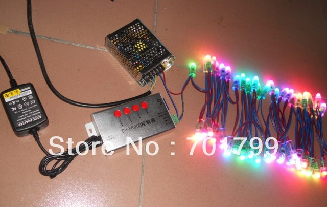 100pcs digital rgb pixel node,DC5V,WS2811IC+T-1000B sd card controller+5V/60W power supply kit