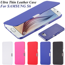 Ultra Thin Magnetic Close Case for Galaxy S6 G9200 Cloth Skin Flip Leather Phone Accessories Slim Fashion Cover For Samsung S6(China (Mainland))