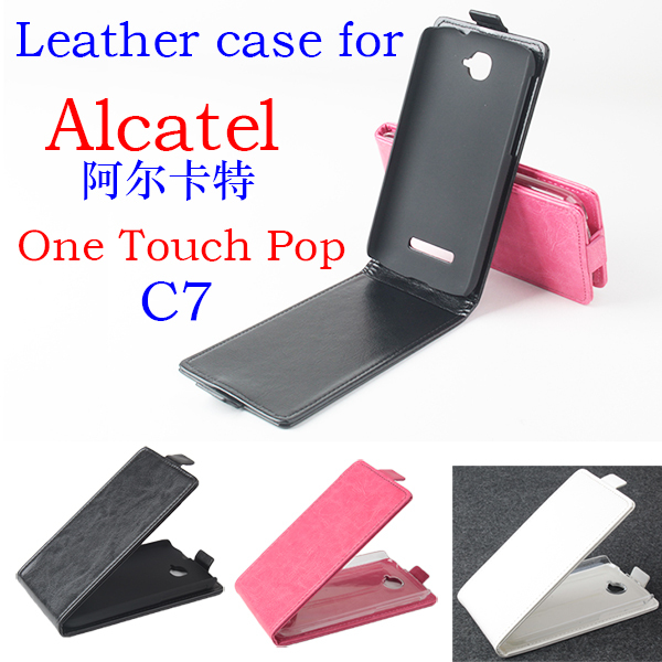 For Alcatel C7 Old School Cell Phone Fashion Bag Tough Back Case For Alcatel One Touch Pop C7 Leather Flip Vertical Case Cover(China (Mainland))