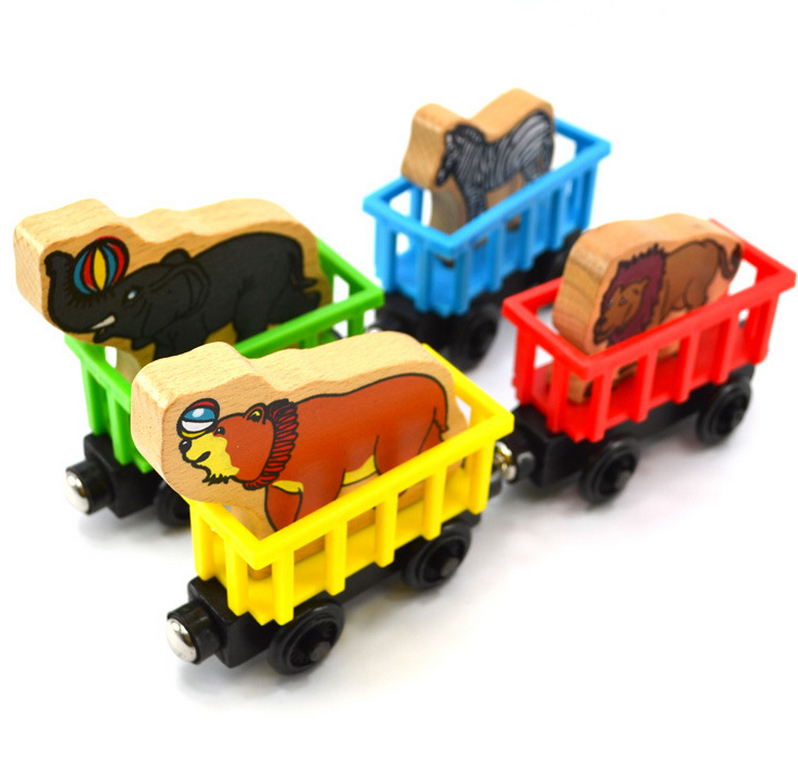 8*3*3CM 30G 4PCS/Lot Wooden Magnetic Animal Thomas Train Carriage Kids Educational Toys For Children Lion Zebra Bear Elephant(China (Mainland))