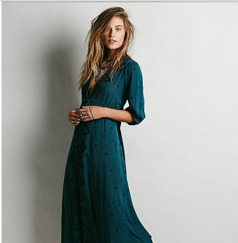 New Fashion Design Vestidos Women Vintage Ethnic Flower Embroidered Cotton Tunic Casual Long Dress Hippie Boho People Asymmetric(China (Mainland))