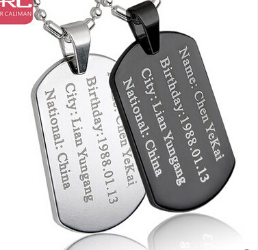 Free Custom-Engraving Dog Tag Necklace Hip-Pop Man Stainless Steel DIY ID Tags Pendant Military Army Women/men Customize ID card(China (Mainland))