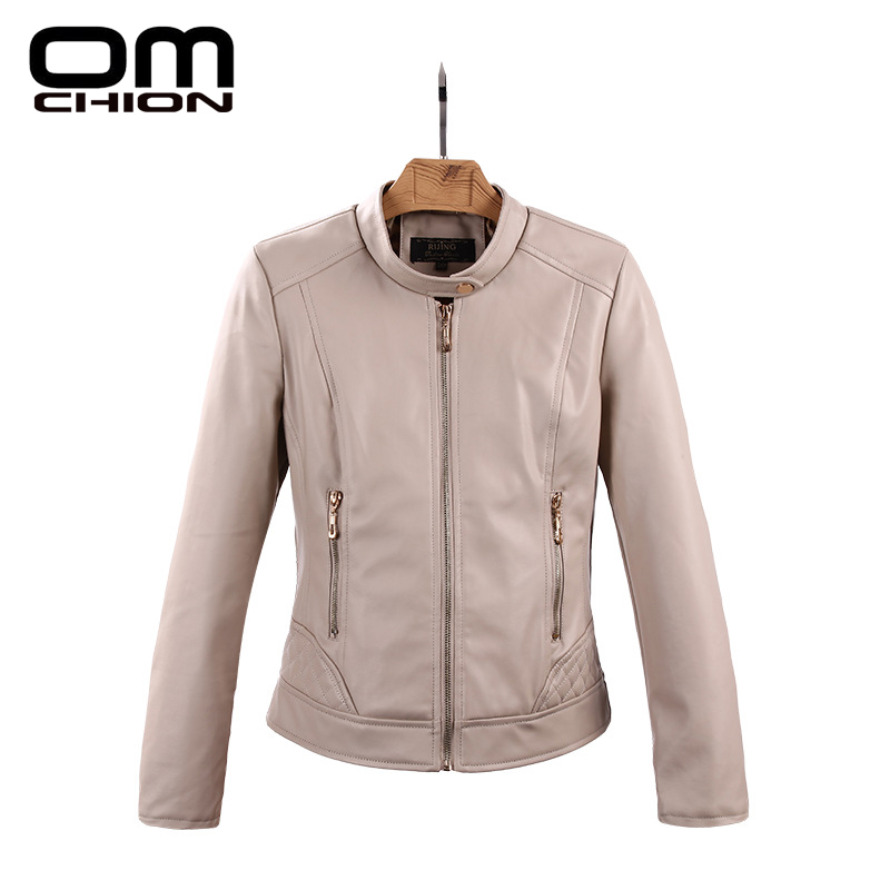 Campera Cuero Mujer 2016 Autumn Winter Motorcycle Leather Jacket Women Stand Collar Fashion Long Sleeve Casual Overcoat WPY01(China (Mainland))