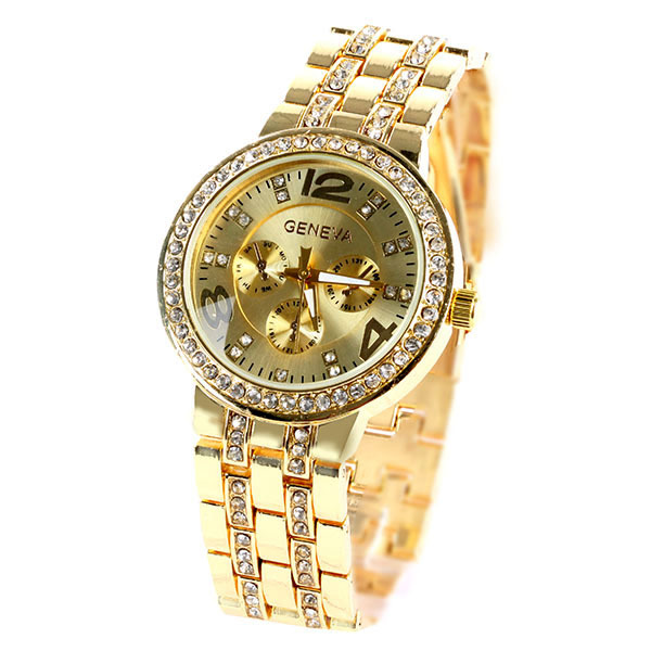 Fashion alloy Geneva watches with diamond Geneva Bling Crystal Women Girl Watch Unisex Stainless Steel Quartz Wrist Watch(China (Mainland))