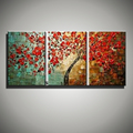 Abstract red decorative cherry tree handmade 3 piece canvas wall art knife oil paintings canvas picture