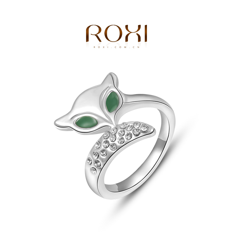 ROXI new arrival 18k gold beryl sexy eye fox crystal wedding/ engagement/ party ring for women fashion jewelry(China (Mainland))