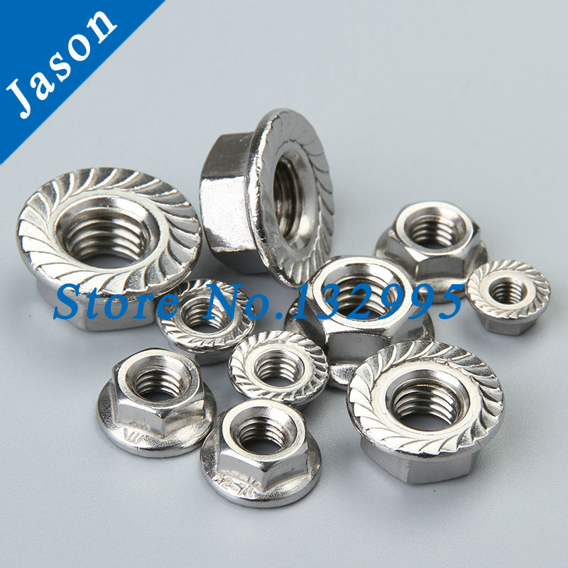 M10 *50PCS  DIN6923 SUS 304 Stainless steel hex flange nut   METRIC A2 HEX Flange NUT<br><br>Aliexpress
