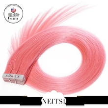 Neitsi Indian Skin Weft Remy Tape In Hair Extensions 20inch #Pink 20pcs 50g 100% Natural Hair Straight Piece(China (Mainland))