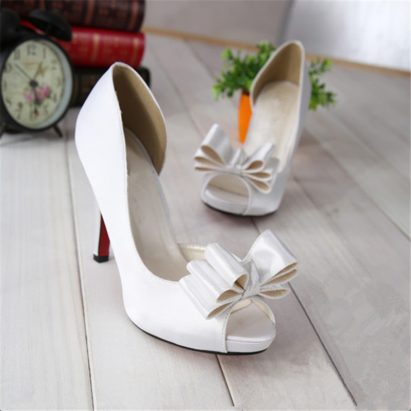 women fashion fish mouth open toe wedding shoes silk surface bow ladies high heel sandals bridal